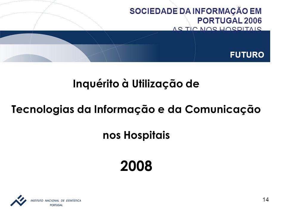 14 SOCIEDADE DA INFORMAÇÃO EM PORTUGAL 2006 AS TIC NOS HOSPITAIS FUTURO Inquérito à Utilização de Tecnologias da Informação e da Comunicação nos Hospi