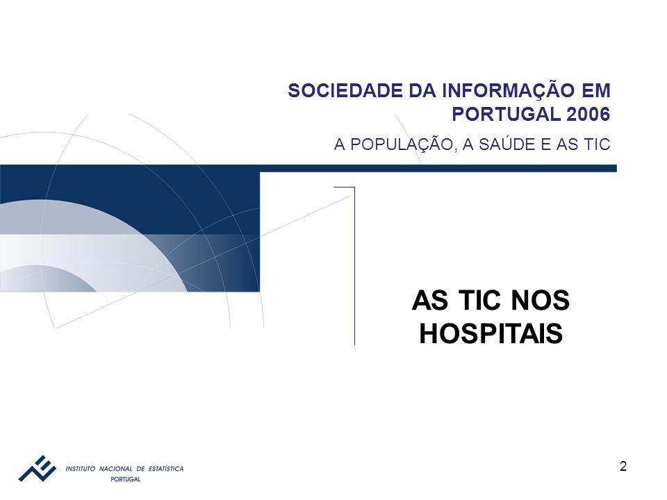 13 SOCIEDADE DA INFORMAÇÃO EM PORTUGAL 2006 AS TIC NOS HOSPITAIS ENCOMENDAS ONLINE