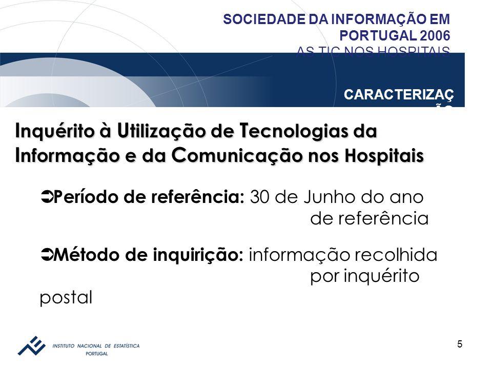 6 SOCIEDADE DA INFORMAÇÃO EM PORTUGAL 2006 AS TIC NOS HOSPITAIS CARACTERIZAÇ ÃO I nquérito à U tilização de T ecnologias da I nformação e da C omunicação nos Hospitais Utilização de TIC Acesso e Utilização de Internet Presença na Internet Encomendas online