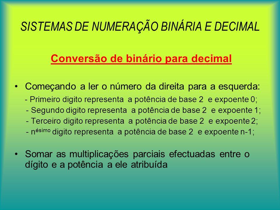 SISTEMAS DE NUMERAÇÃO BINÁRIA E DECIMAL Conversão de decimal para binário u Efectuar divisões sucessivas por 2 até se obter o quociente 1 u Agrupar o