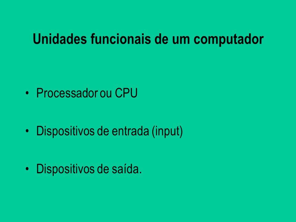 Unidades funcionais de um computador Processador ou CPU Dispositivos de entrada (input) Dispositivos de saída.
