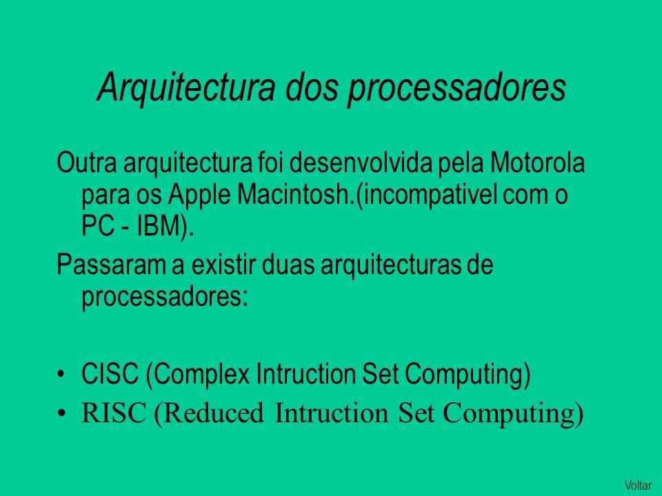 Arquitectura dos processadores Outra arquitectura foi desenvolvida pela Motorola para os Apple Macintosh.(incompativel com o PC - IBM).
