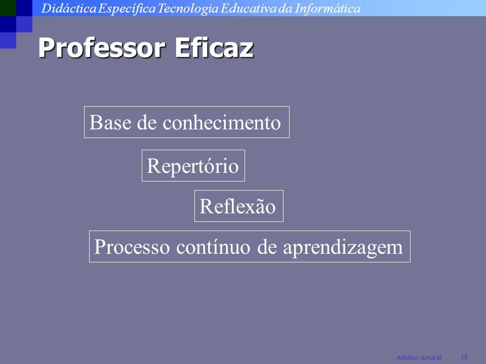 Didáctica Específica Tecnologia Educativa da Informática 18 Adelino Amaral Professor Eficaz Base de conhecimento Repertório Reflexão Processo contínuo