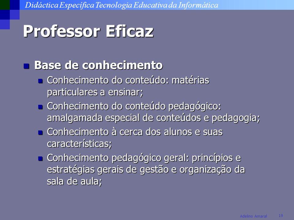 Didáctica Específica Tecnologia Educativa da Informática 19 Adelino Amaral Professor Eficaz Base de conhecimento Base de conhecimento Conhecimento do