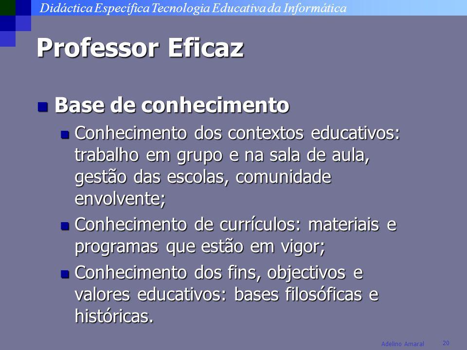 Didáctica Específica Tecnologia Educativa da Informática 20 Adelino Amaral Professor Eficaz Base de conhecimento Base de conhecimento Conhecimento dos