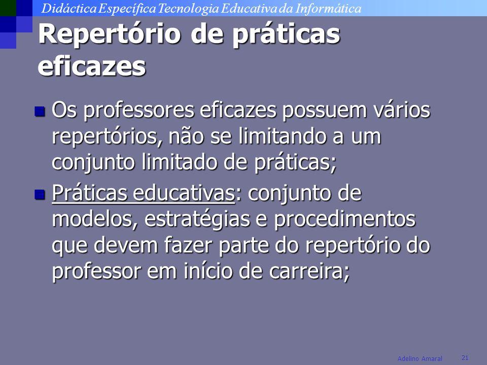 Didáctica Específica Tecnologia Educativa da Informática 21 Adelino Amaral Repertório de práticas eficazes Os professores eficazes possuem vários repe