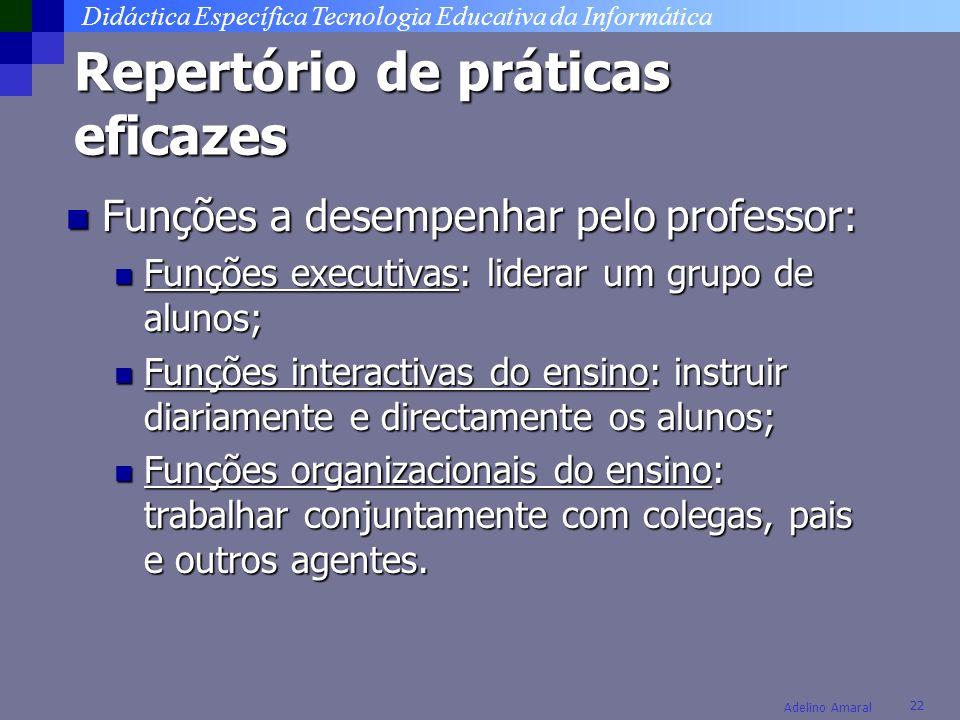 Didáctica Específica Tecnologia Educativa da Informática 22 Adelino Amaral Repertório de práticas eficazes Funções a desempenhar pelo professor: Funçõ