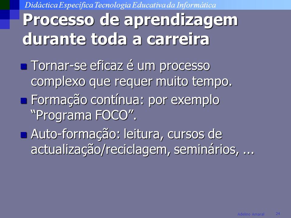 Didáctica Específica Tecnologia Educativa da Informática 24 Adelino Amaral Processo de aprendizagem durante toda a carreira Tornar-se eficaz é um processo complexo que requer muito tempo.