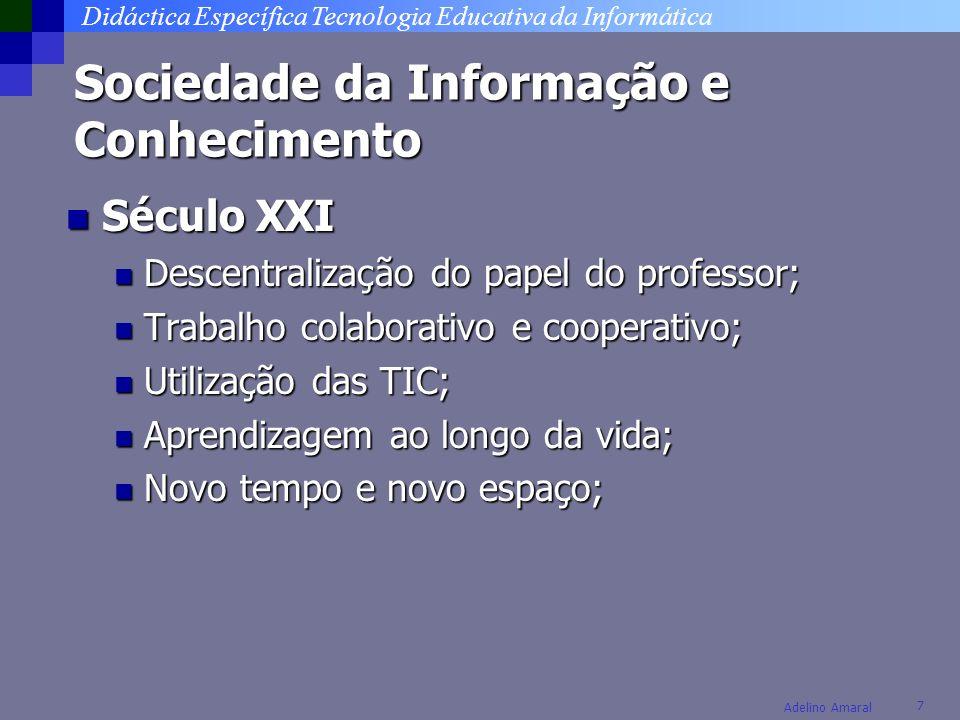 Didáctica Específica Tecnologia Educativa da Informática 18 Adelino Amaral Professor Eficaz Base de conhecimento Repertório Reflexão Processo contínuo de aprendizagem