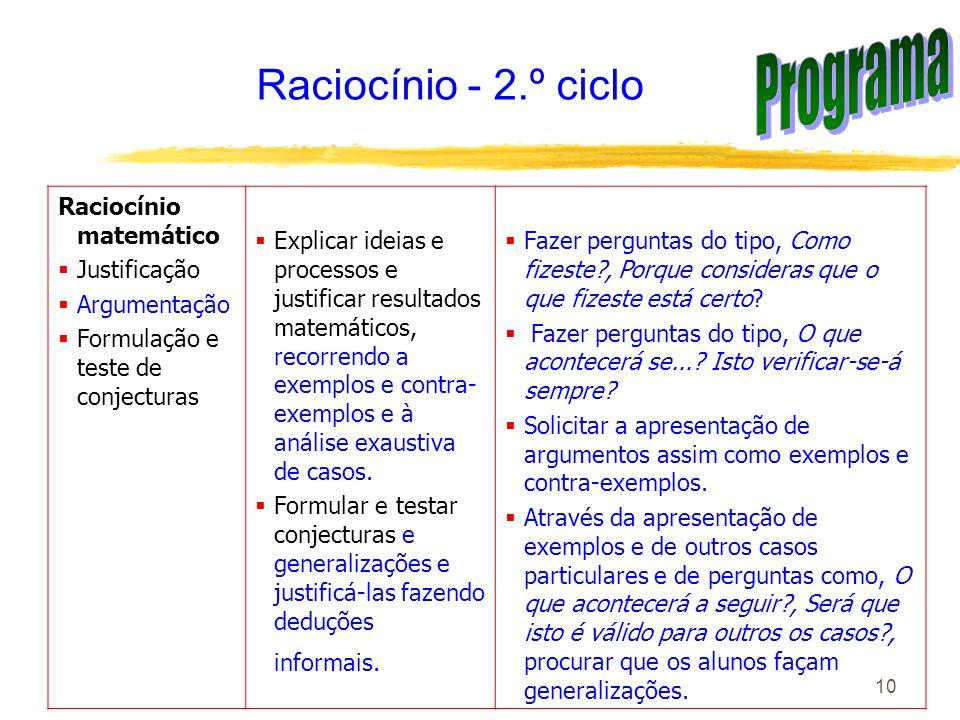 10 Raciocínio - 2.º ciclo Raciocínio matemático Justificação Argumentação Formulação e teste de conjecturas Explicar ideias e processos e justificar r