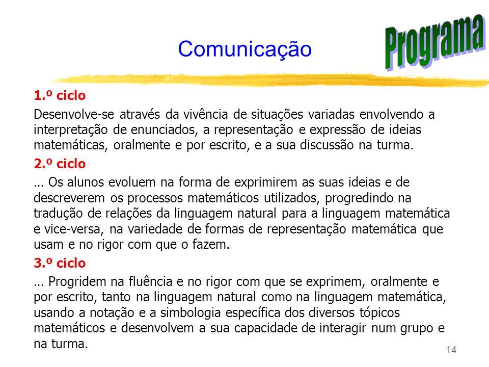 14 Comunicação 1.º ciclo Desenvolve-se através da vivência de situações variadas envolvendo a interpretação de enunciados, a representação e expressão
