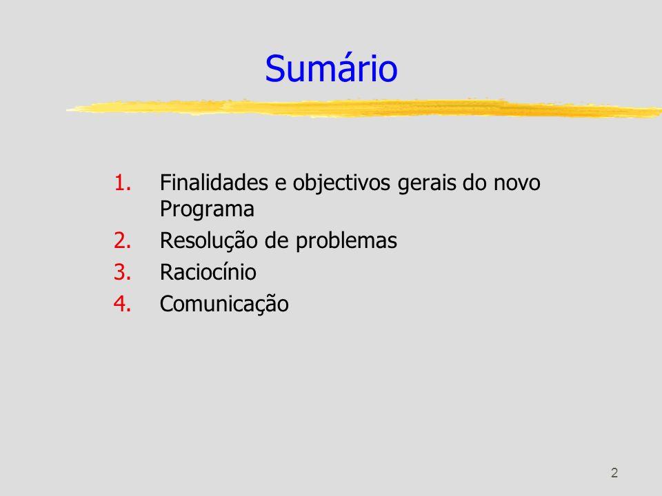 2 Sumário 1.Finalidades e objectivos gerais do novo Programa 2.Resolução de problemas 3.Raciocínio 4.Comunicação