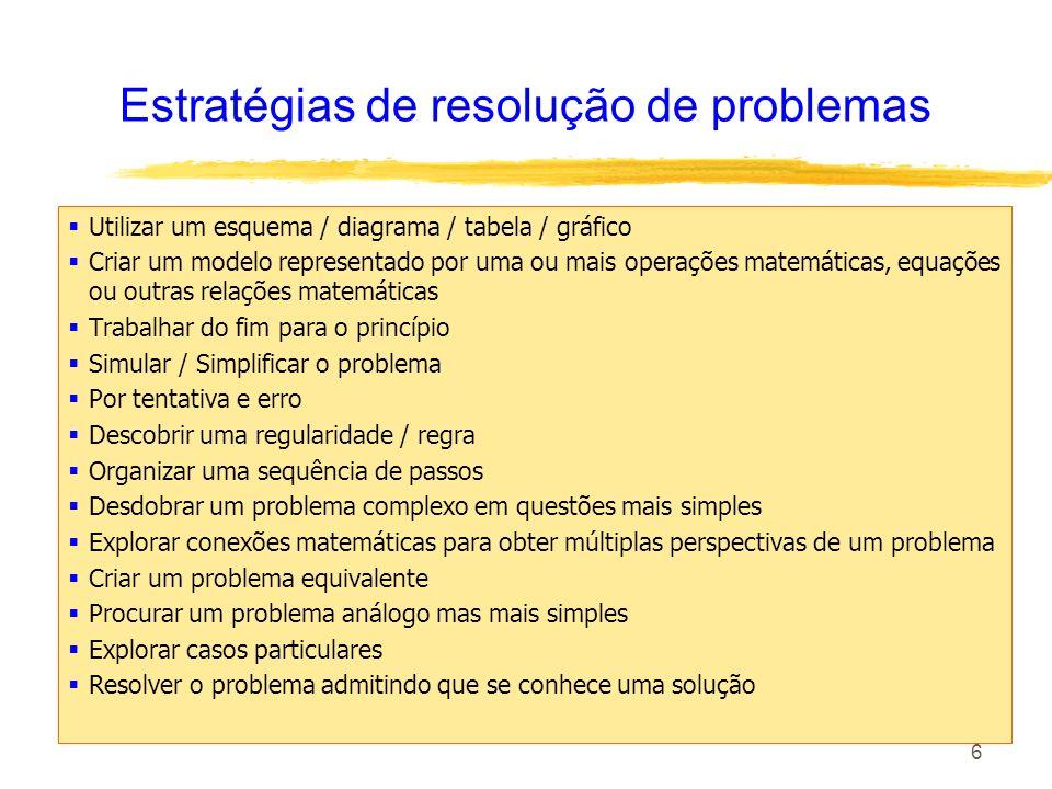 6 Estratégias de resolução de problemas Utilizar um esquema / diagrama / tabela / gráfico Criar um modelo representado por uma ou mais operações matem