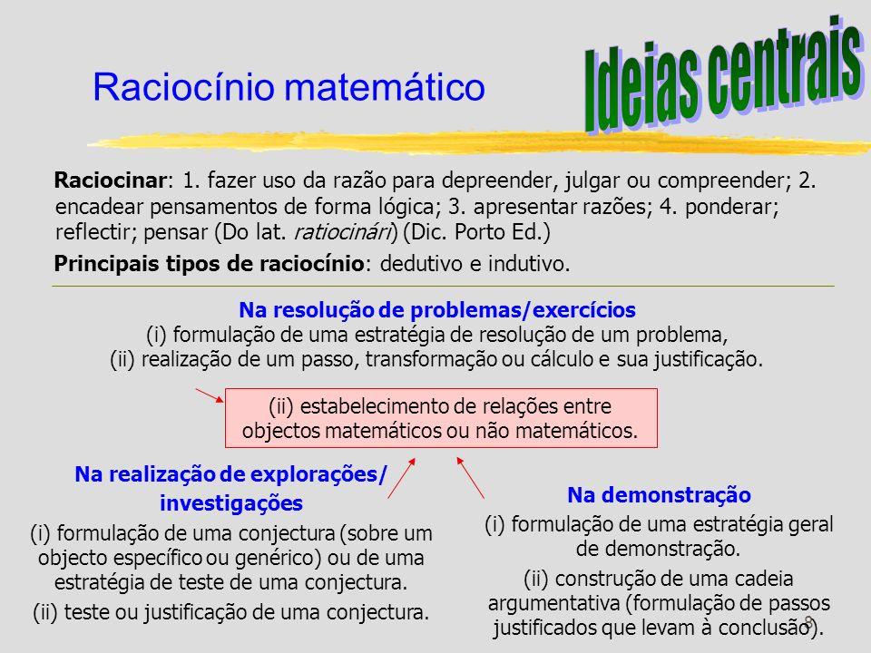 9 Raciocínio - 1.º ciclo Raciocínio matemático Justificação Formulação e teste de conjecturas Explicar ideias e processos e justificar resultados matemáticos.