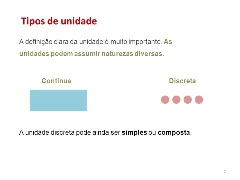7 Contínua Discreta Tipos de unidade A unidade discreta pode ainda ser simples ou composta.