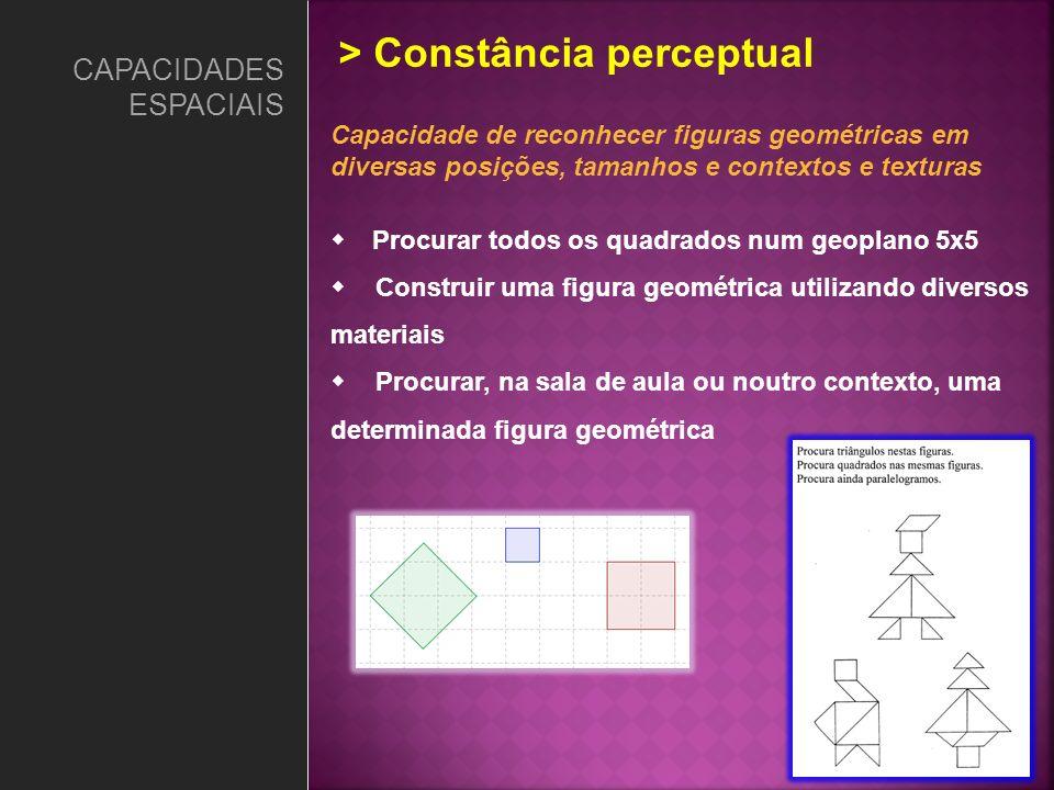 Capacidade de reconhecer figuras geométricas em diversas posições, tamanhos e contextos e texturas Procurar todos os quadrados num geoplano 5x5 Constr