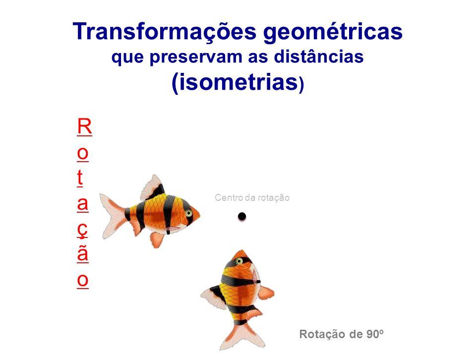 RotaçãoRotação Transformações geométricas que preservam as distâncias (isometrias ) Rotação de 90º Centro da rotação