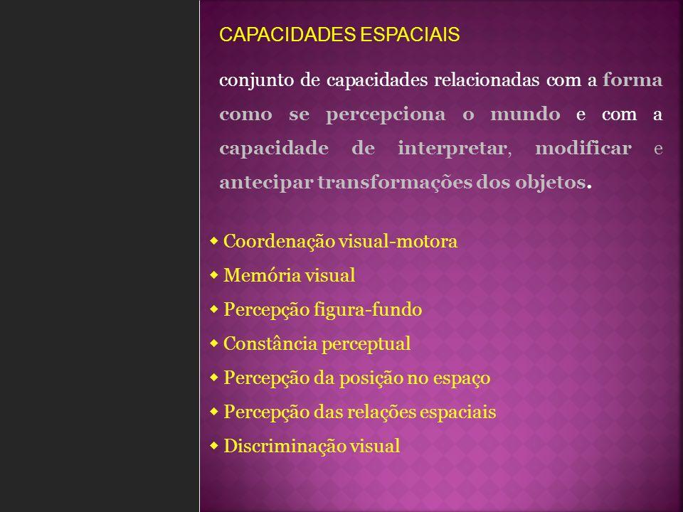 CAPACIDADES ESPACIAIS capacidade de coordenar a visão com os movimentos do corpo Resolver e fazer labirintos Pintar desenhos Reproduzir desenhos dados Pintar espaços marcados com pontinhos > Coordenação visual-motora