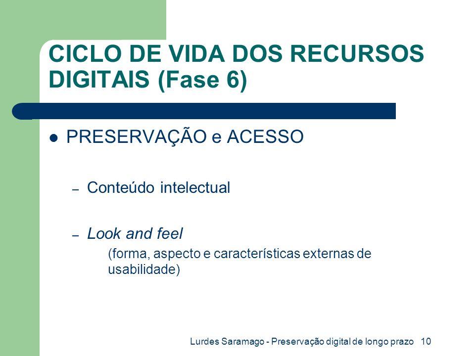 Lurdes Saramago - Preservação digital de longo prazo 10 CICLO DE VIDA DOS RECURSOS DIGITAIS (Fase 6) PRESERVAÇÃO e ACESSO – Conteúdo intelectual – Look and feel (forma, aspecto e características externas de usabilidade)