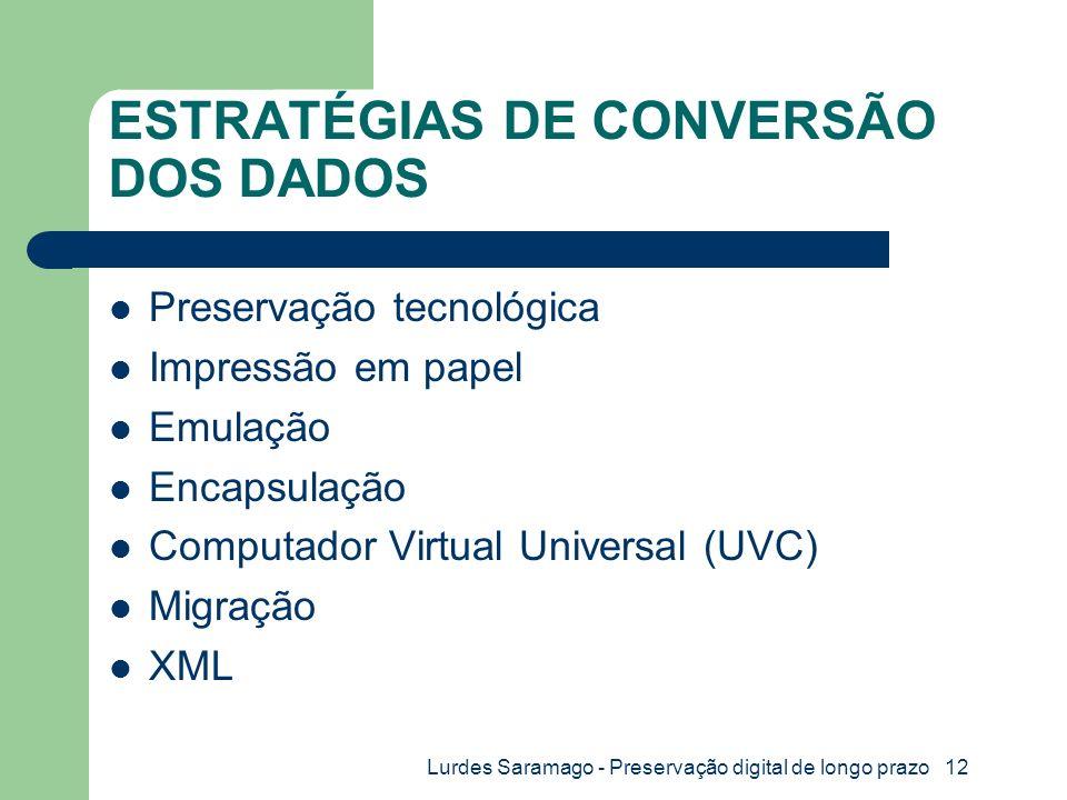 Lurdes Saramago - Preservação digital de longo prazo 12 ESTRATÉGIAS DE CONVERSÃO DOS DADOS Preservação tecnológica Impressão em papel Emulação Encapsulação Computador Virtual Universal (UVC) Migração XML