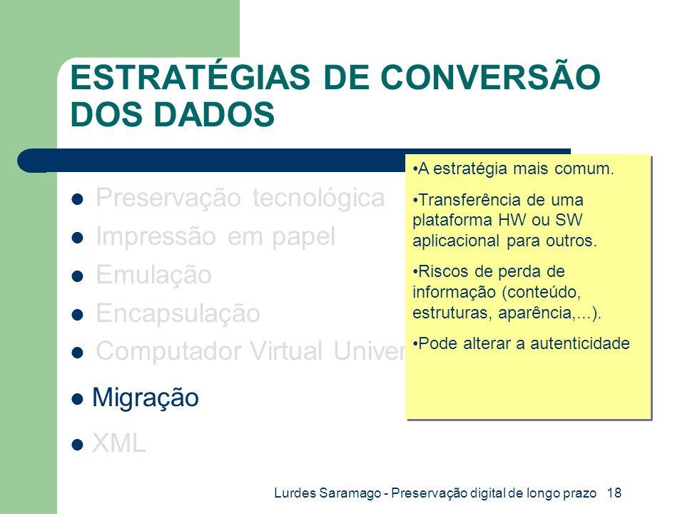 Lurdes Saramago - Preservação digital de longo prazo 18 ESTRATÉGIAS DE CONVERSÃO DOS DADOS Preservação tecnológica Impressão em papel Emulação Encapsulação Computador Virtual Universal XML Migração A estratégia mais comum.