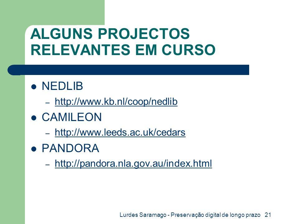 Lurdes Saramago - Preservação digital de longo prazo 21 ALGUNS PROJECTOS RELEVANTES EM CURSO NEDLIB – http://www.kb.nl/coop/nedlib http://www.kb.nl/coop/nedlib CAMILEON – http://www.leeds.ac.uk/cedars http://www.leeds.ac.uk/cedars PANDORA – http://pandora.nla.gov.au/index.html http://pandora.nla.gov.au/index.html