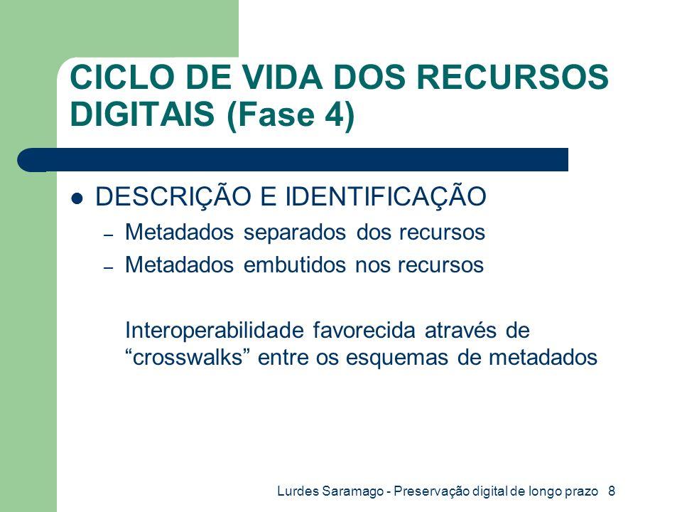 Lurdes Saramago - Preservação digital de longo prazo 8 CICLO DE VIDA DOS RECURSOS DIGITAIS (Fase 4) DESCRIÇÃO E IDENTIFICAÇÃO – Metadados separados dos recursos – Metadados embutidos nos recursos Interoperabilidade favorecida através de crosswalks entre os esquemas de metadados