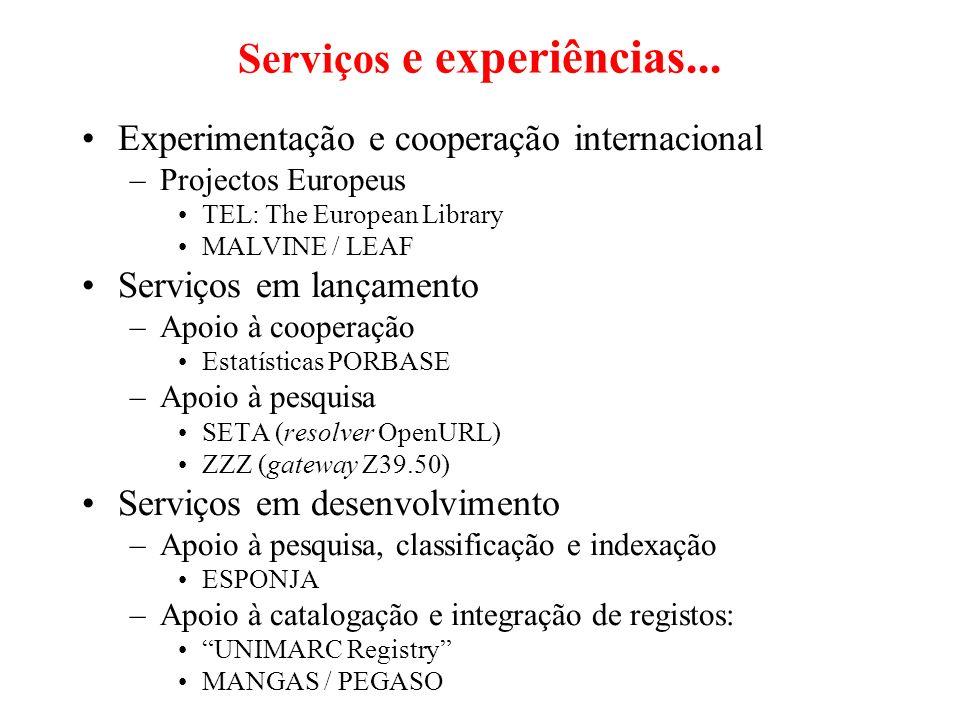 Serviços e experiências... Experimentação e cooperação internacional –Projectos Europeus TEL: The European Library MALVINE / LEAF Serviços em lançamen
