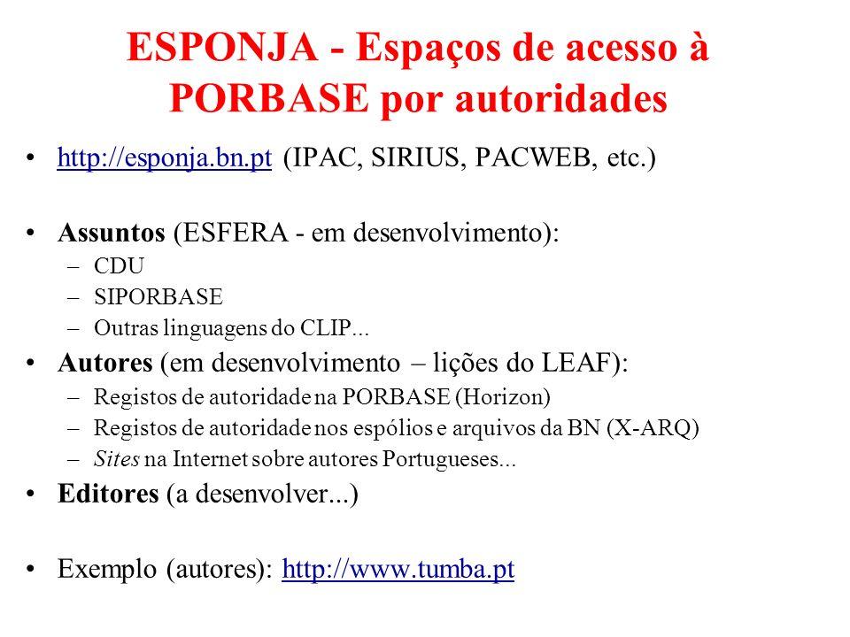 ESPONJA - Espaços de acesso à PORBASE por autoridades http://esponja.bn.pt (IPAC, SIRIUS, PACWEB, etc.)http://esponja.bn.pt Assuntos (ESFERA - em dese