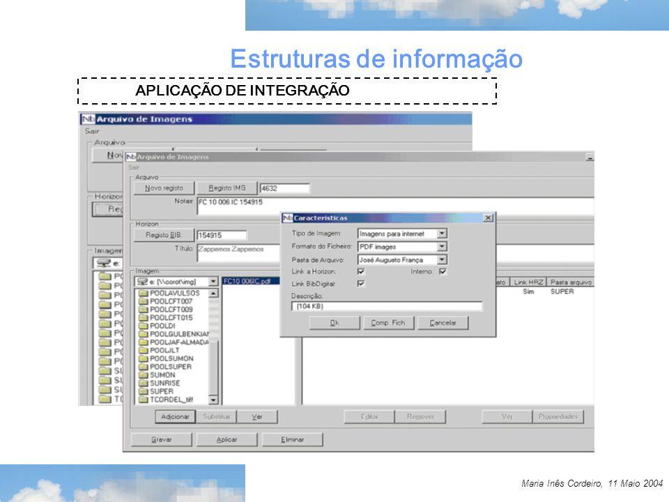 Maria Inês Cordeiro, 11 Maio 2004 Estruturas de informação APLICAÇÃO DE INTEGRAÇÃO