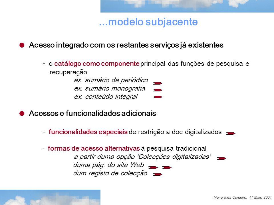 Maria Inês Cordeiro, 11 Maio 2004...modelo subjacente Acesso integrado com os restantes serviços já existentes - o catálogo como componente principal das funções de pesquisa e recuperação ex.