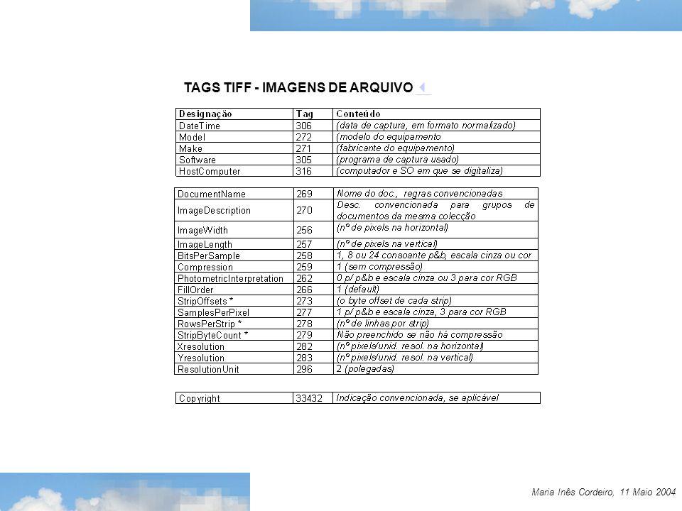 Maria Inês Cordeiro, 11 Maio 2004 TAGS TIFF - IMAGENS DE ARQUIVO