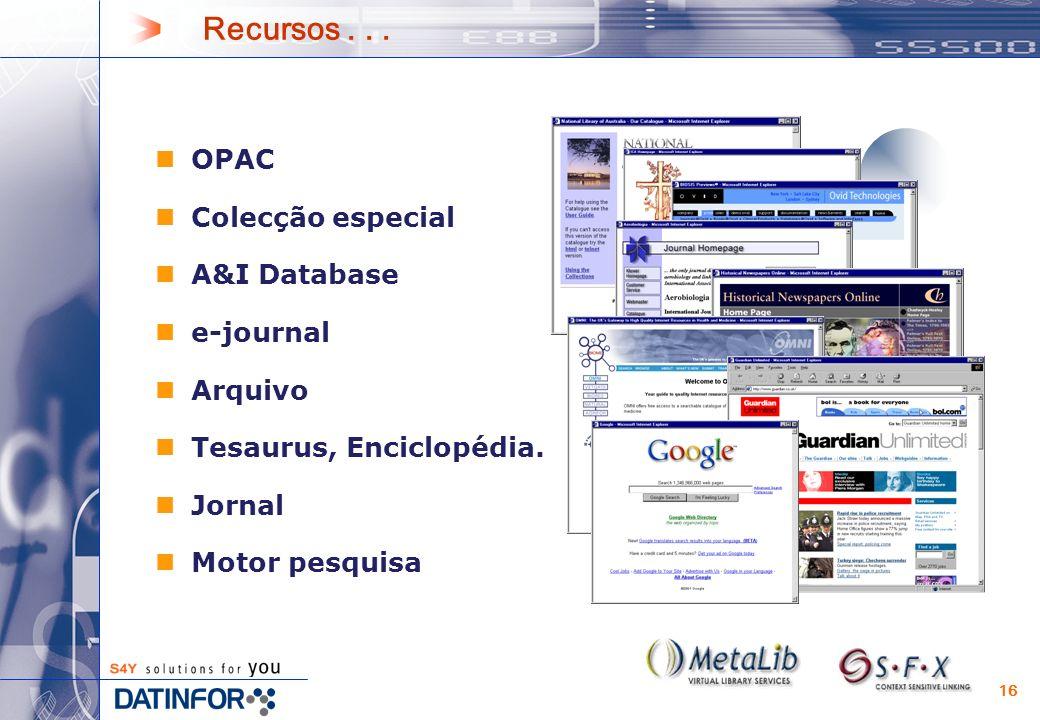 16 Recursos... OPAC Colecção especial A&I Database e-journal Arquivo Tesaurus, Enciclopédia.