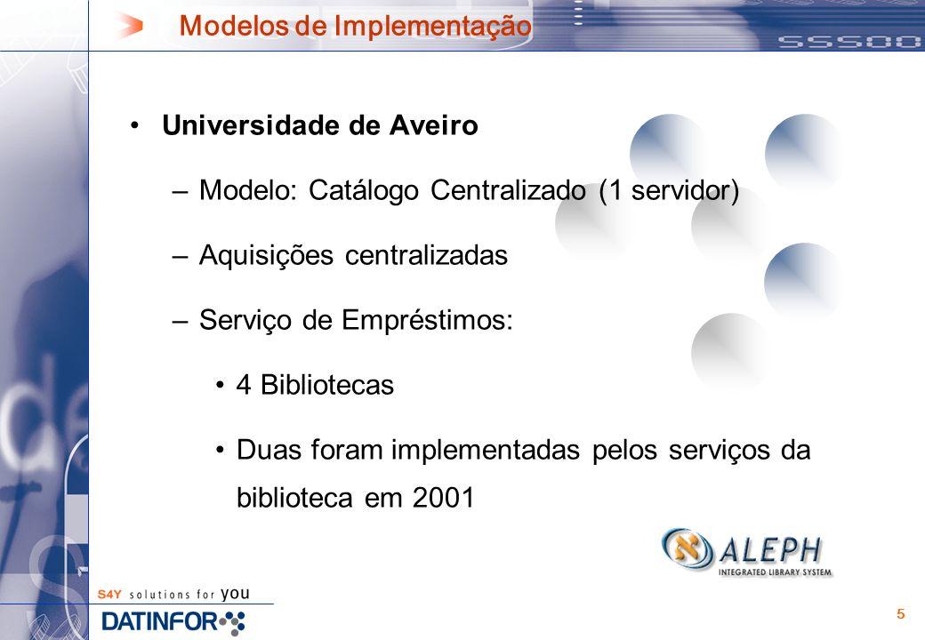 5 Modelos de Implementação Universidade de Aveiro –Modelo: Catálogo Centralizado (1 servidor) –Aquisições centralizadas –Serviço de Empréstimos: 4 Bibliotecas Duas foram implementadas pelos serviços da biblioteca em 2001