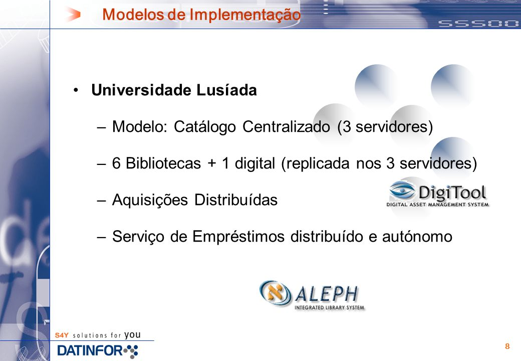 8 Universidade Lusíada –Modelo: Catálogo Centralizado (3 servidores) –6 Bibliotecas + 1 digital (replicada nos 3 servidores) –Aquisições Distribuídas –Serviço de Empréstimos distribuído e autónomo