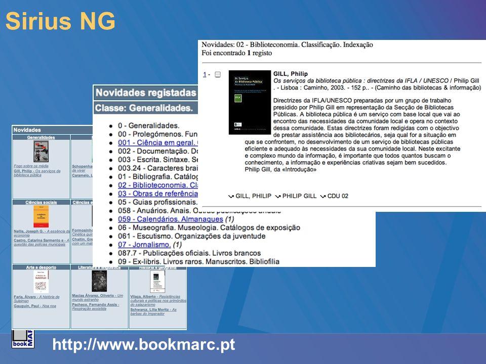 http://www.bookmarc.pt Sirius NG