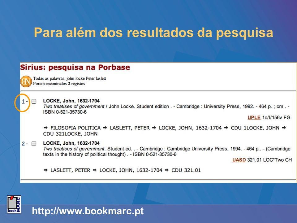 http://www.bookmarc.pt Para além dos resultados da pesquisa