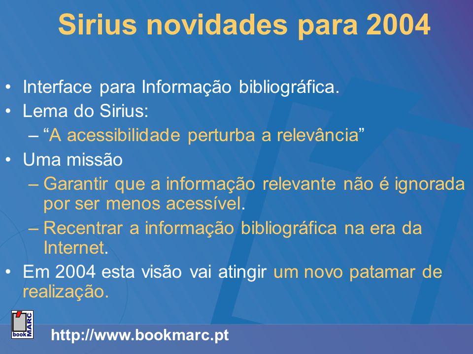 Sirius novidades para 2004 Interface para Informação bibliográfica. Lema do Sirius: –A acessibilidade perturba a relevância Uma missão –Garantir que a