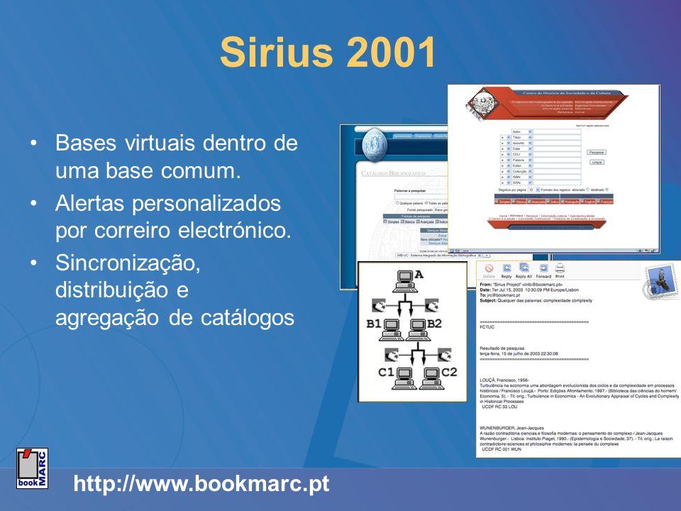 http://www.bookmarc.pt Sirius 2001 Bases virtuais dentro de uma base comum. Alertas personalizados por correiro electrónico. Sincronização, distribuiç