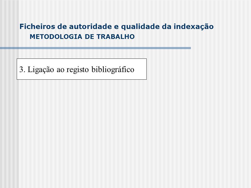 METODOLOGIA DE TRABALHO 3. Ligação ao registo bibliográfico Ficheiros de autoridade e qualidade da indexação