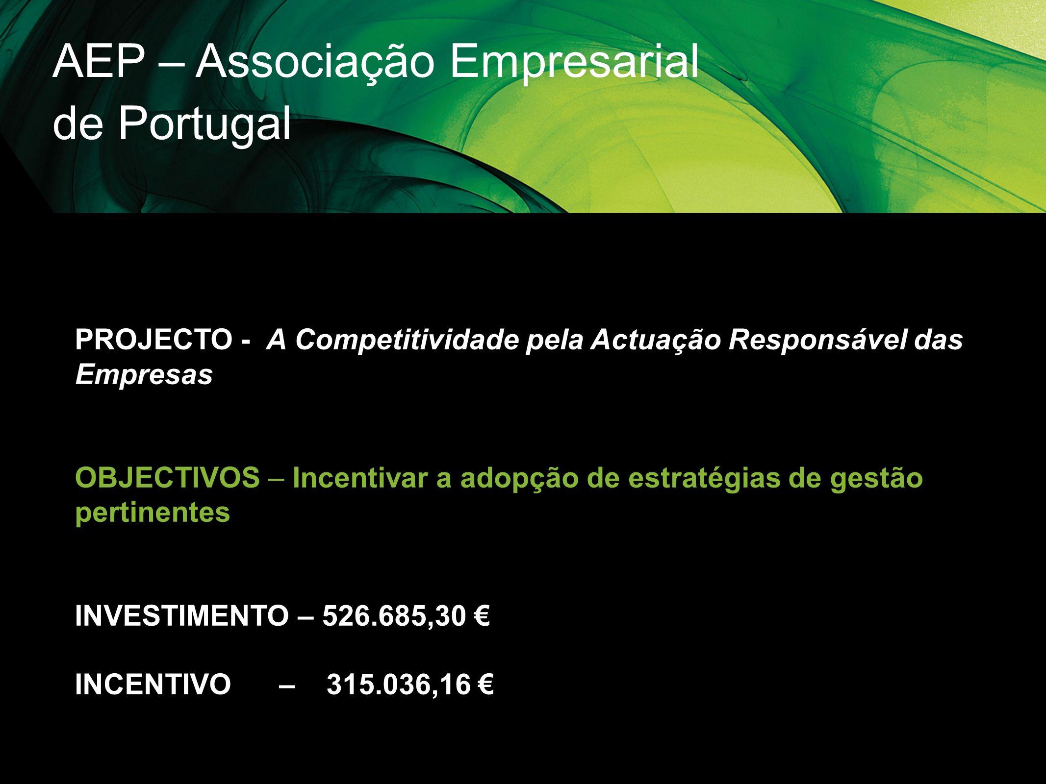 AEP – Associação Empresarial de Portugal PROJECTO - A Competitividade pela Actuação Responsável das Empresas OBJECTIVOS – Incentivar a adopção de estr