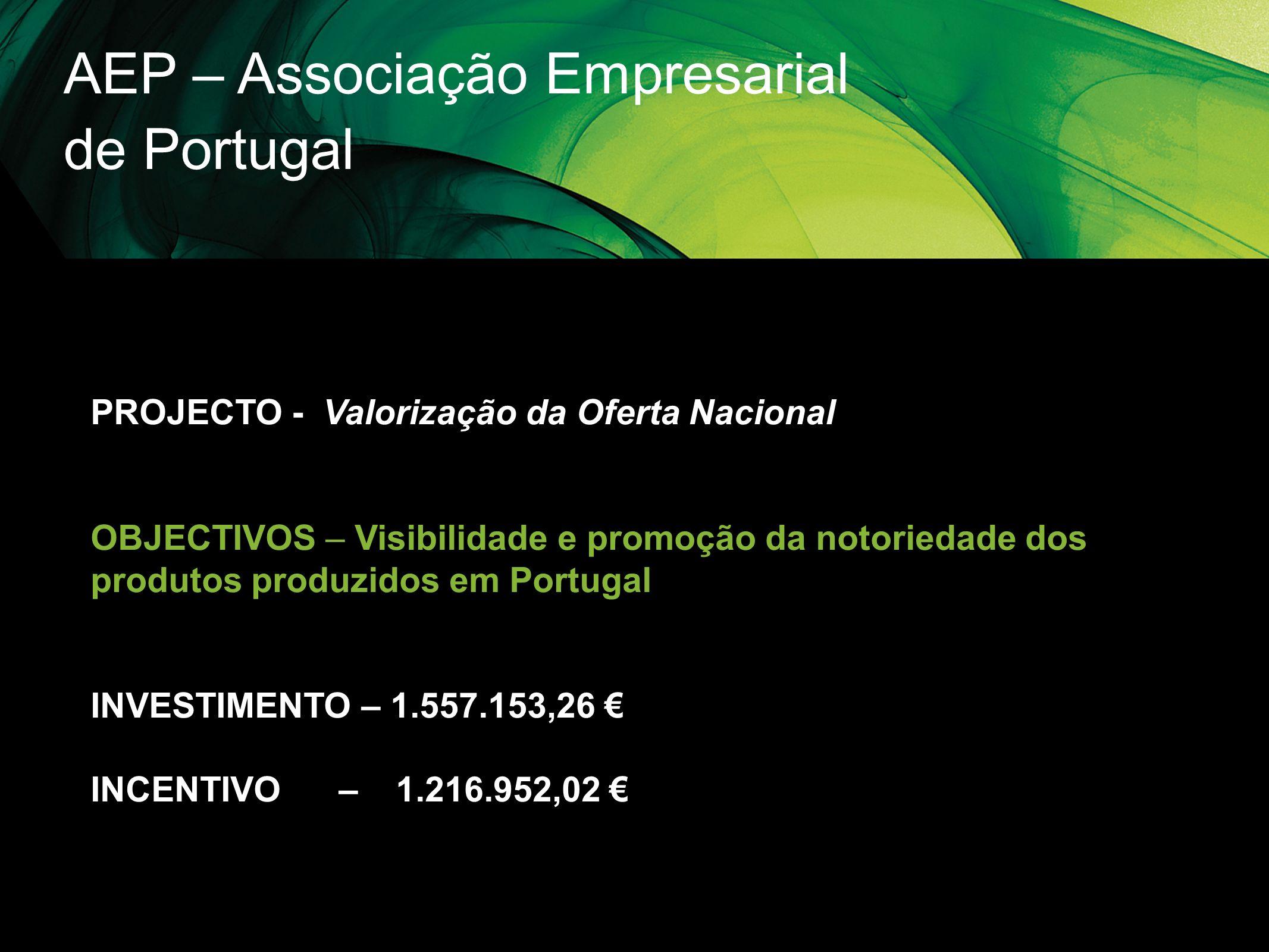 AEP – Associação Empresarial de Portugal PROJECTO - Valorização da Oferta Nacional OBJECTIVOS – Visibilidade e promoção da notoriedade dos produtos pr
