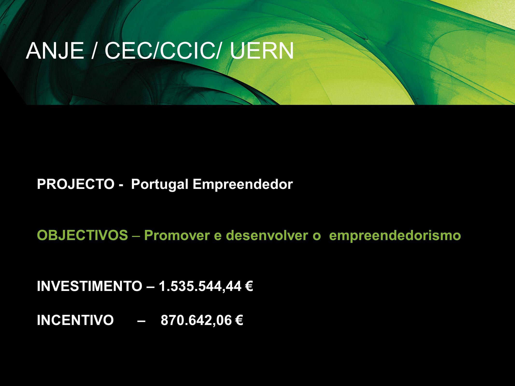 ANJE / CEC/CCIC/ UERN PROJECTO - Portugal Empreendedor OBJECTIVOS – Promover e desenvolver o empreendedorismo INVESTIMENTO – 1.535.544,44 INCENTIVO –