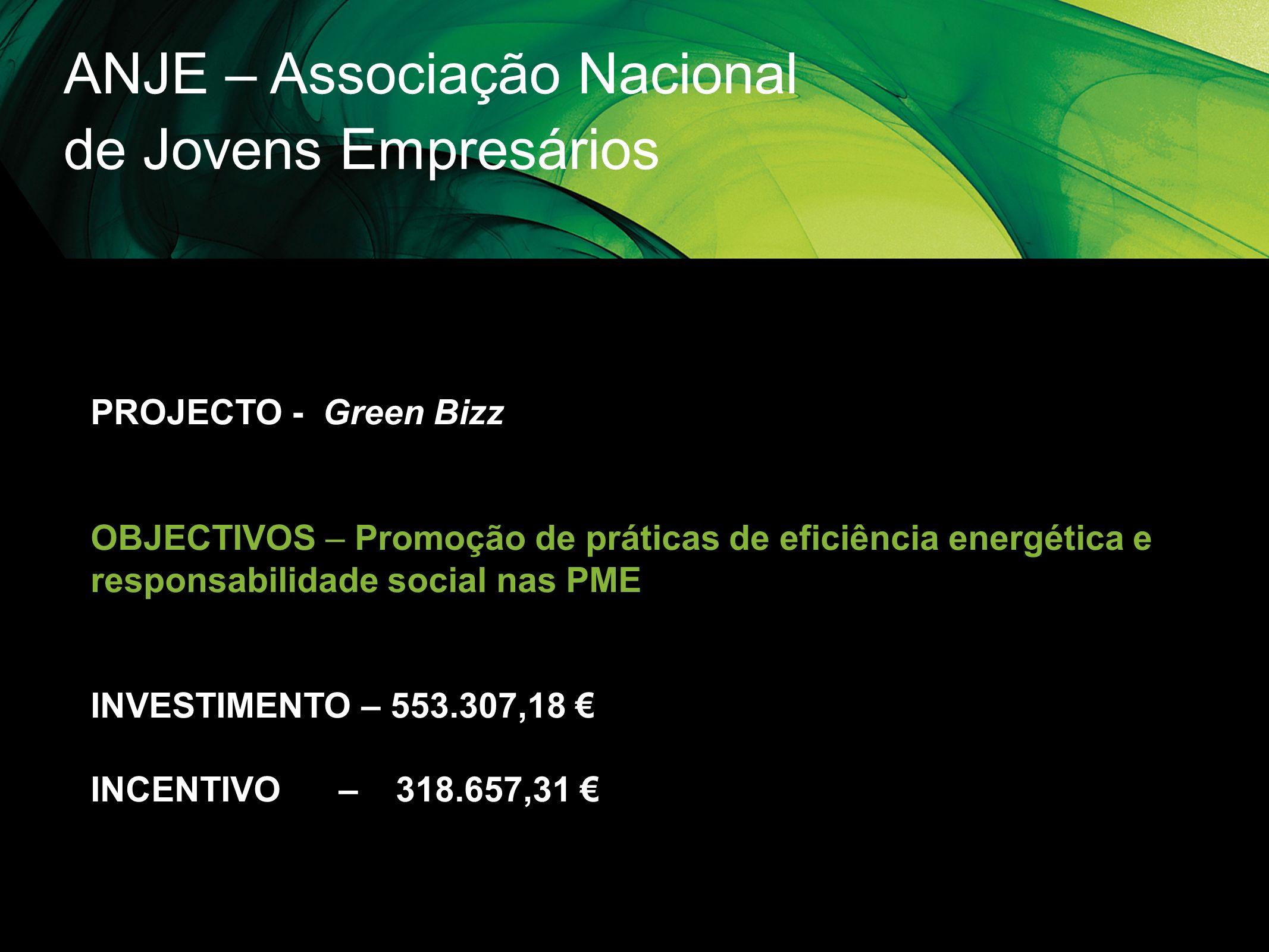 ANJE – Associação Nacional de Jovens Empresários PROJECTO - Green Bizz OBJECTIVOS – Promoção de práticas de eficiência energética e responsabilidade s