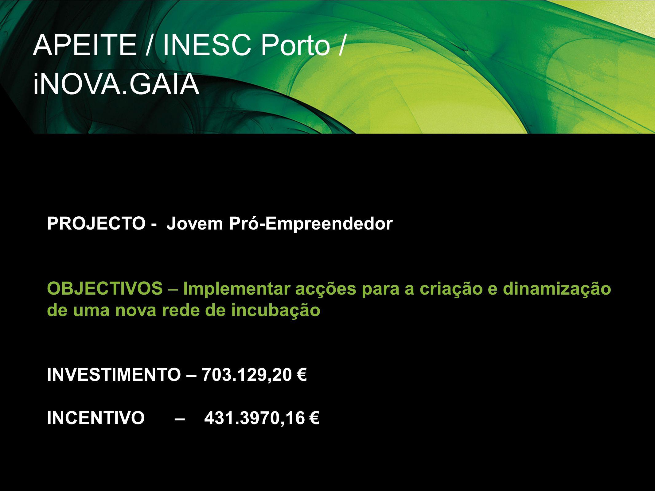 APEITE / INESC Porto / iNOVA.GAIA PROJECTO - Jovem Pró-Empreendedor OBJECTIVOS – Implementar acções para a criação e dinamização de uma nova rede de i