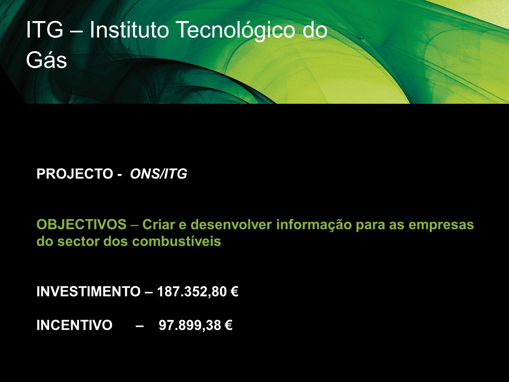 ITG – Instituto Tecnológico do Gás PROJECTO - ONS/ITG OBJECTIVOS – Criar e desenvolver informação para as empresas do sector dos combustíveis INVESTIM