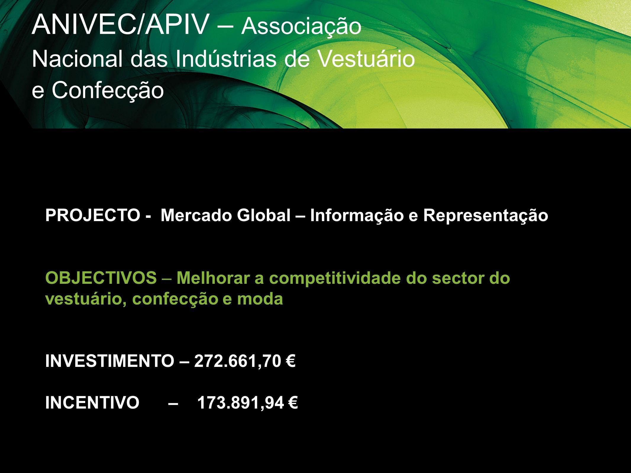 ANIVEC/APIV – Associação Nacional das Indústrias de Vestuário e Confecção PROJECTO - Mercado Global – Informação e Representação OBJECTIVOS – Melhorar