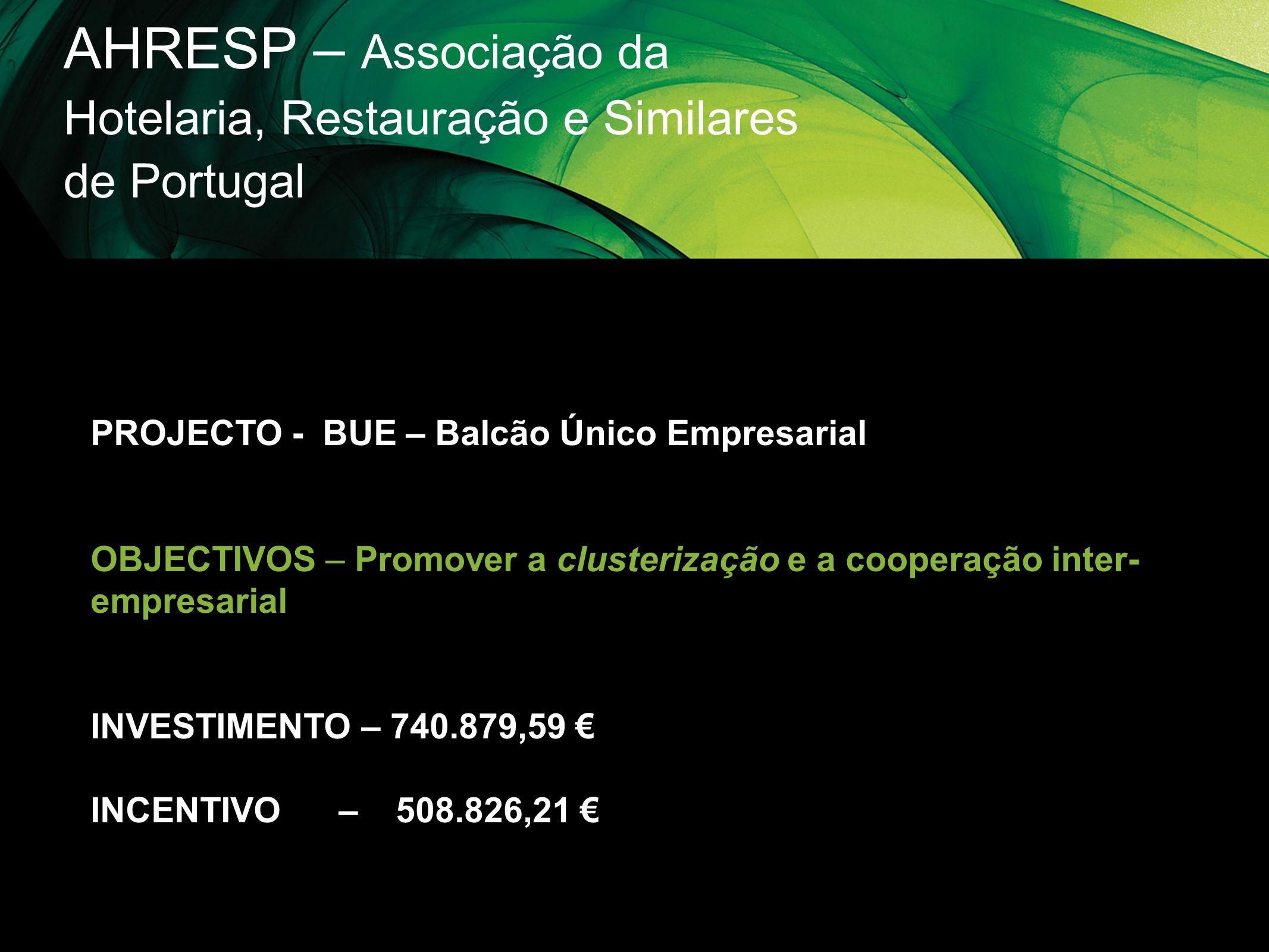 AHRESP – Associação da Hotelaria, Restauração e Similares de Portugal PROJECTO - BUE – Balcão Único Empresarial OBJECTIVOS – Promover a clusterização