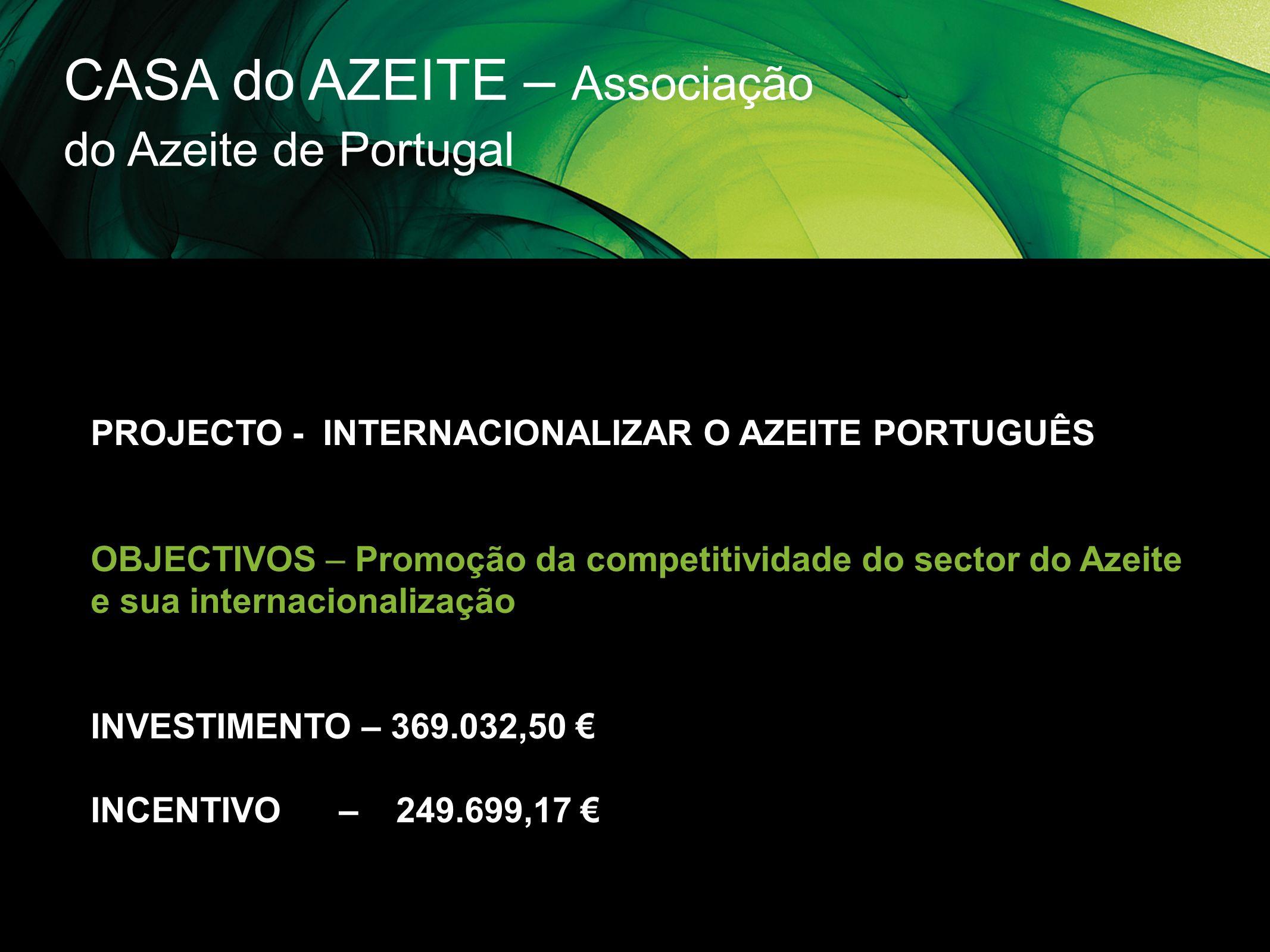 CASA do AZEITE – Associação do Azeite de Portugal PROJECTO - INTERNACIONALIZAR O AZEITE PORTUGUÊS OBJECTIVOS – Promoção da competitividade do sector d