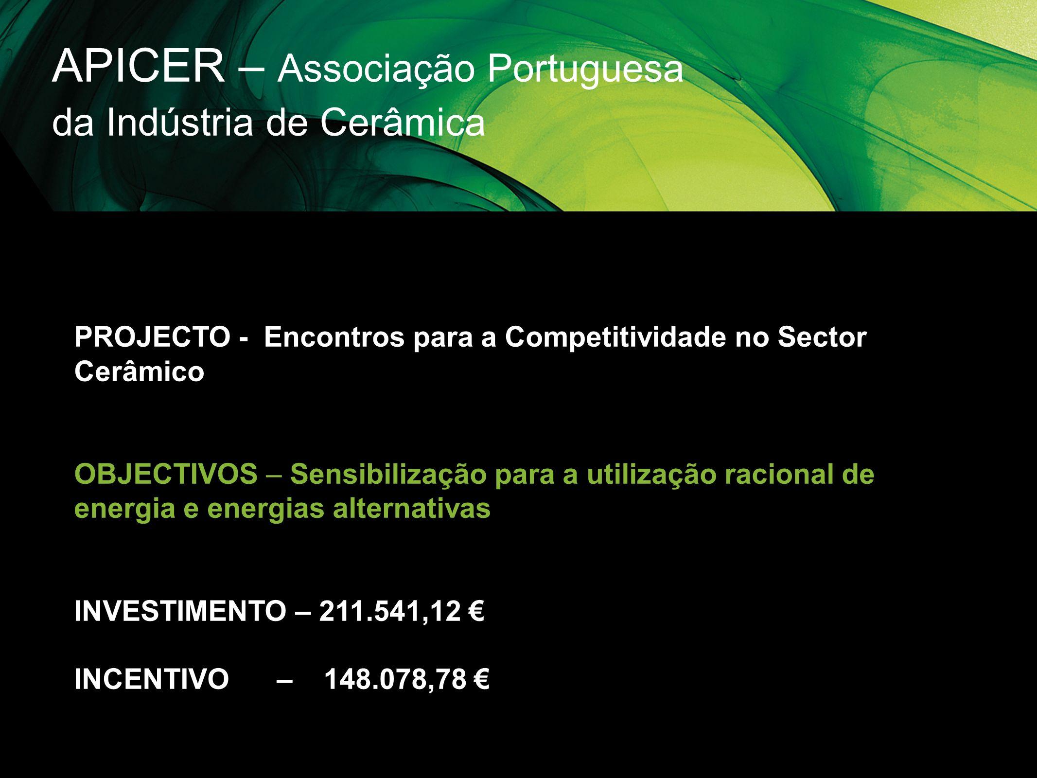 APICER – Associação Portuguesa da Indústria de Cerâmica PROJECTO - Encontros para a Competitividade no Sector Cerâmico OBJECTIVOS – Sensibilização par